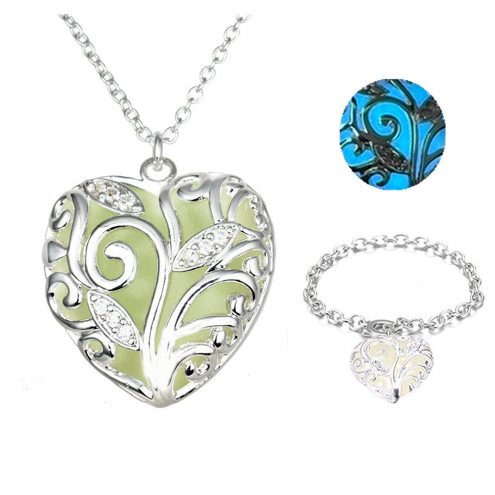 Dazzle flash Heart Glow in The Dark Magic Fairy Necklace Girls Locket Necklaces N302-1 DN30200F