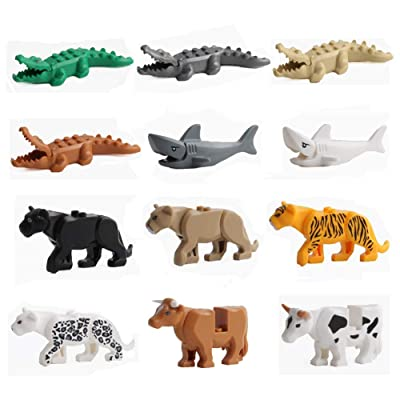 12PCS/Set City Animals Building Blocks Zoon Minifigures Figures Model Crocodile Shark Cow Educational Toys Compatible Major Block: Toys & Games