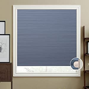 HIHIYO Window Blinds Cellular Shades Honeycomb Blackout Cordless, Trim-at-Home, No Tools Installation, Room Darkening Home Shades for Bedroom, Office, Kitchen(30