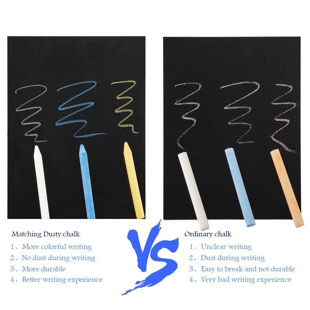 ILFALZT 7.2 X 5.5 Inch Double-Sided Writing Chalkboard Signs with Bamboo Base Stands,with Chalk,with Chalk Eraser,with Chalk Set,6 Pair