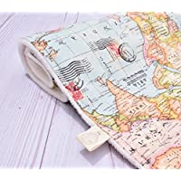 Adventure Awaits! A World Map Handmade Blanket for babies and kids with a full map side in front, and the softest cream minky on the back.