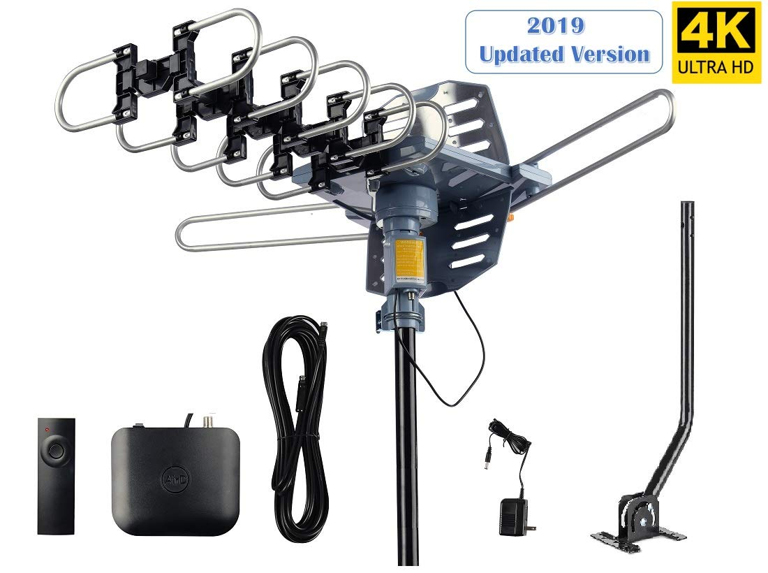 AirDiff Outdoor Antenna [2019 Version] Amplified HDTV Antenna 360 Degree Rotation with 40FT RG6 Cable & Mounting Pole Snap-On Installation Performanced at UHF/VHF/1080P