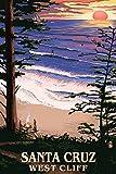 Santa Cruz, California - West Cliff Sunset and Surfers (12x18 Art Print, Wall Decor Travel Poster)
