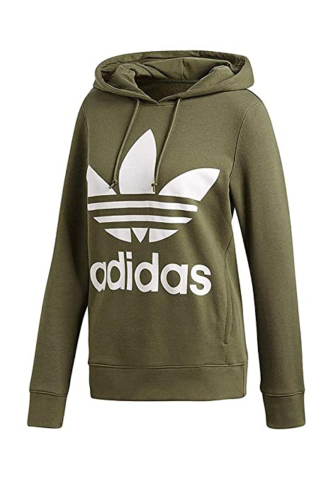 reputable site 12eea a9b8f adidas Trefoil He, Felpa Donna, Base Green, 38
