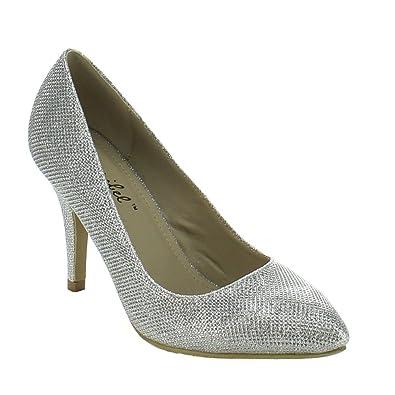 44eb16516 Bonnibel Kendra-1 Women's Slip On Almond Toe Glitter Stiletto Dress Pumps, Silver,