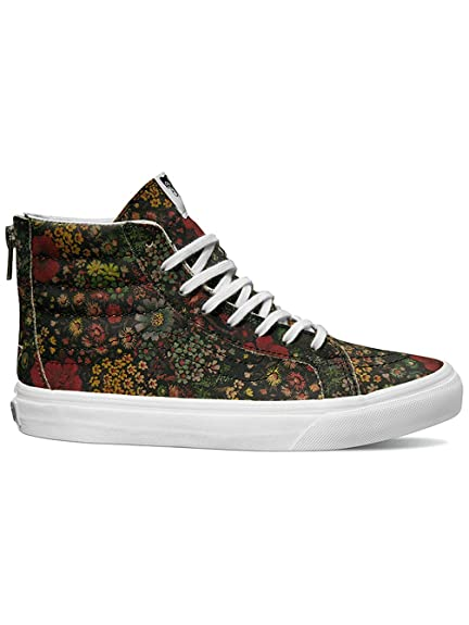 292cd4cf25 Vans Floral Leather SK8-HI Slim Zip Mens Skateboarding-Shoes VN-0XH8JR1 4.5  - Multi True White  Buy Online at Low Prices in India - Amazon.in