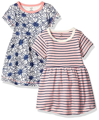 Touched by Nature Baby Girls' Organic Cotton Dress, 2 Pack, Daisy Short Sleeve, 3 Toddler (3T)
