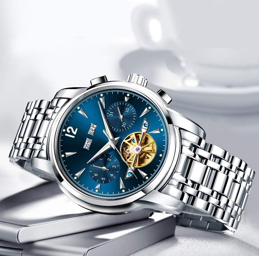 Armbandsur klockor mekanisk självuppdragande vattentät klocka herr kalender rostfritt stål bälte män klocka 02