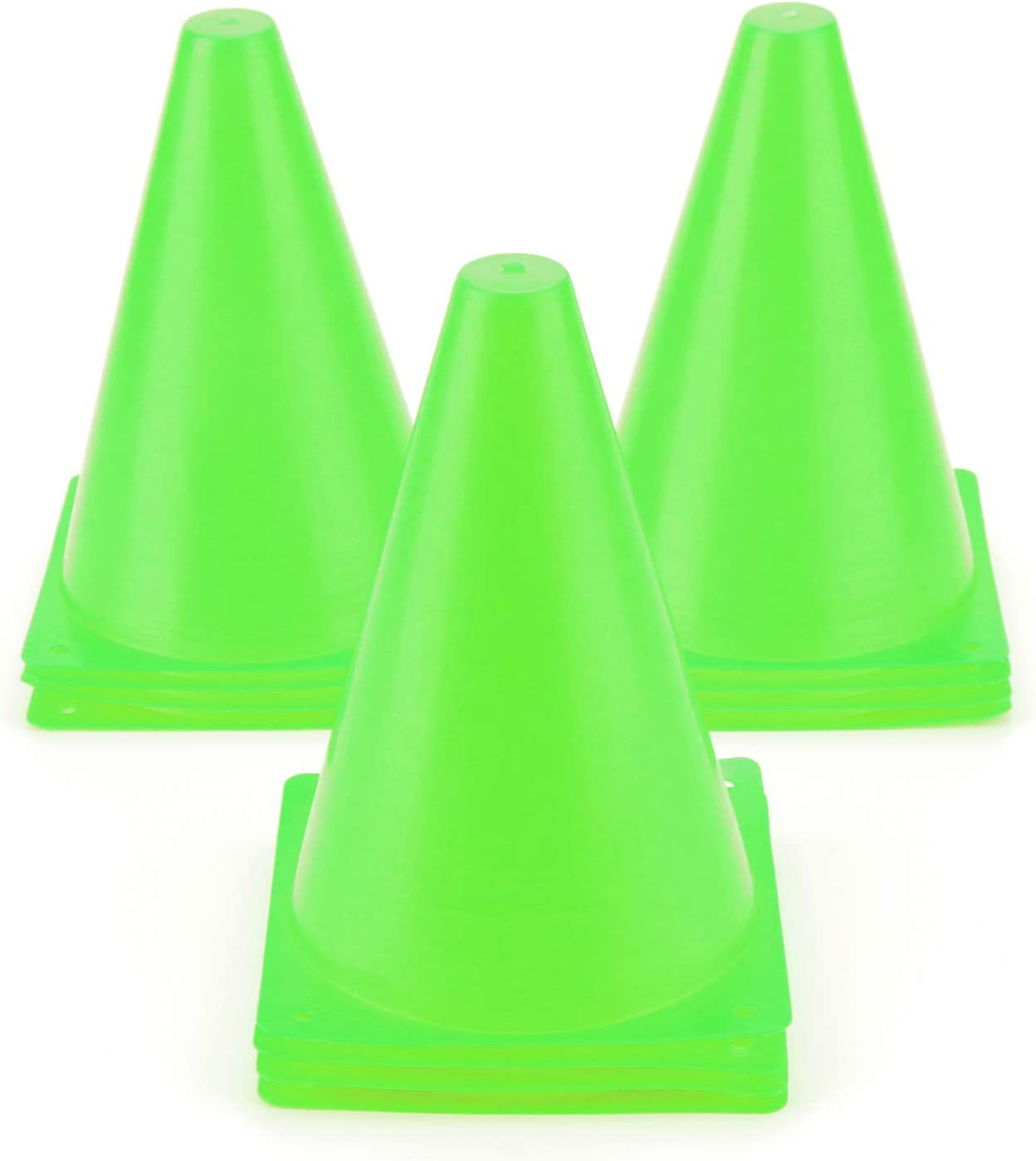 9 Inch/7.5 Inch Sports Cones, Basketball Cones, Traffic Training Cones, Agility Field Marker Cones for Soccer Football Drills Training, Outdoor Activity or Events - (Set of 10 or 12 or 24, 5 Colors)