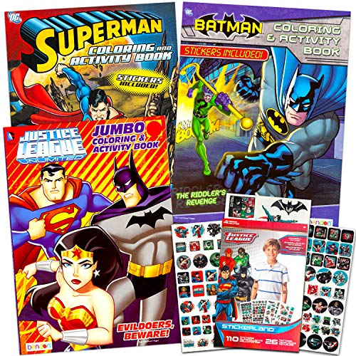 Super Hero Coloring Book Super Set with 3 Superhero Coloring Books, 110 Stickers and 26 Temporary Tattoos (3 Superhero…