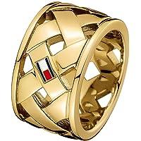 خواتم للنساء من الستانلس ستيل المطلي طلاء ايوني بالذهب والنحاس الاصفر من تومي هيلفجر- 2701024D