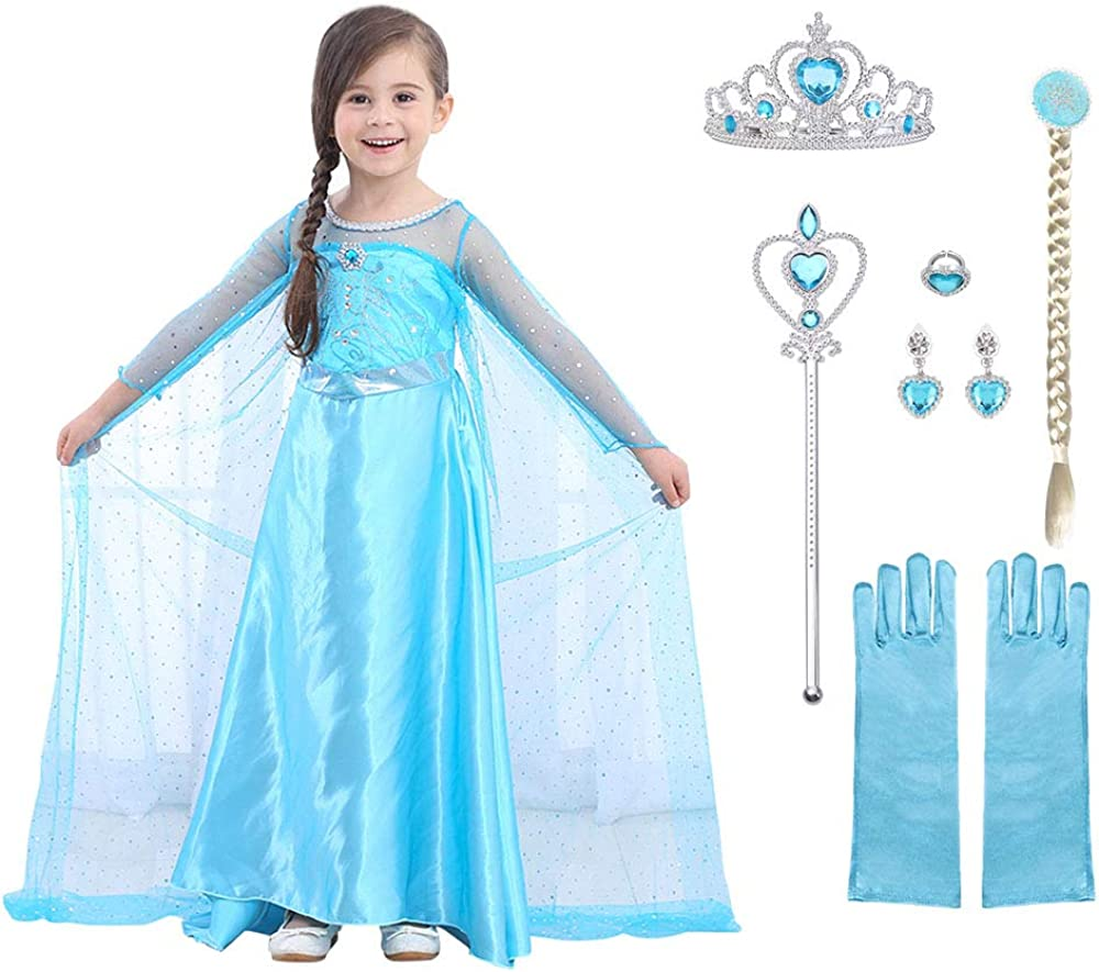 URAQT Elsa Dress Princess Costume with Accessories from £10.87 @ Amazon