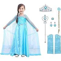 URAQT Elsa Frozen Costume, Set da Principessa Elsa Corona Bacchetta Guanti Treccia, Elsa Costume di Cosplay Party Halloween Costume Abito delle Ragazze di Natale Vestito Fantasia (100cm-150cm)