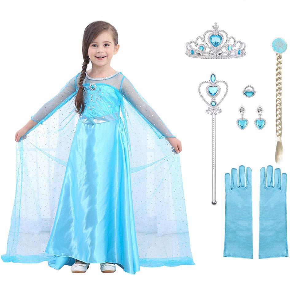 URAQT Elsa Frozen Costume, Set da Principessa Elsa Corona Bacchetta Guanti Treccia, Elsa Costume di Cosplay Party Halloween Costume Abito delle Ragazze di Natale Vestito Fantasia,100cm