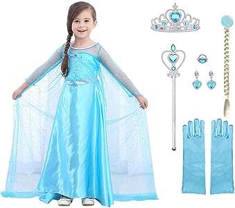 URAQT Disfraz de Princesa Frozen Elsa, Traje del Vestido Traje de Princesa de la Nieve Vestido Infantil Disfraz de Princesa de Niñas para Frozen Themed Fiesta Cumpleaños Navidad 100CM