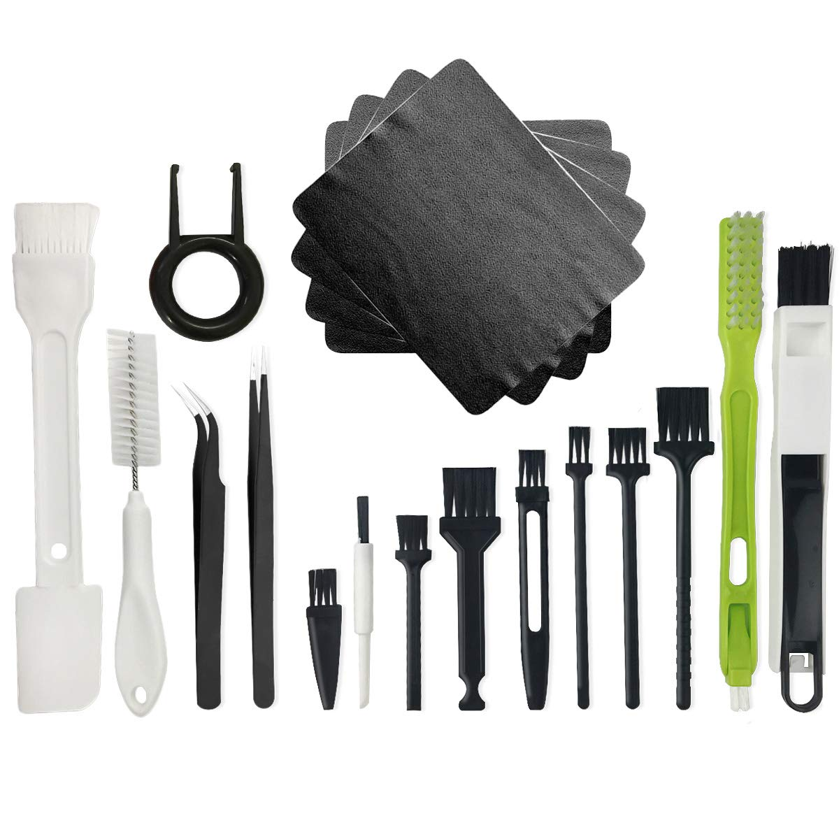 Plastic Handle Nylon Anti Static Brushes Cleaning Keyboard Car Seat Wall Gap Water Cup Home Appliances Brush Cloth Puller Tweezers Kit (Set of 19)