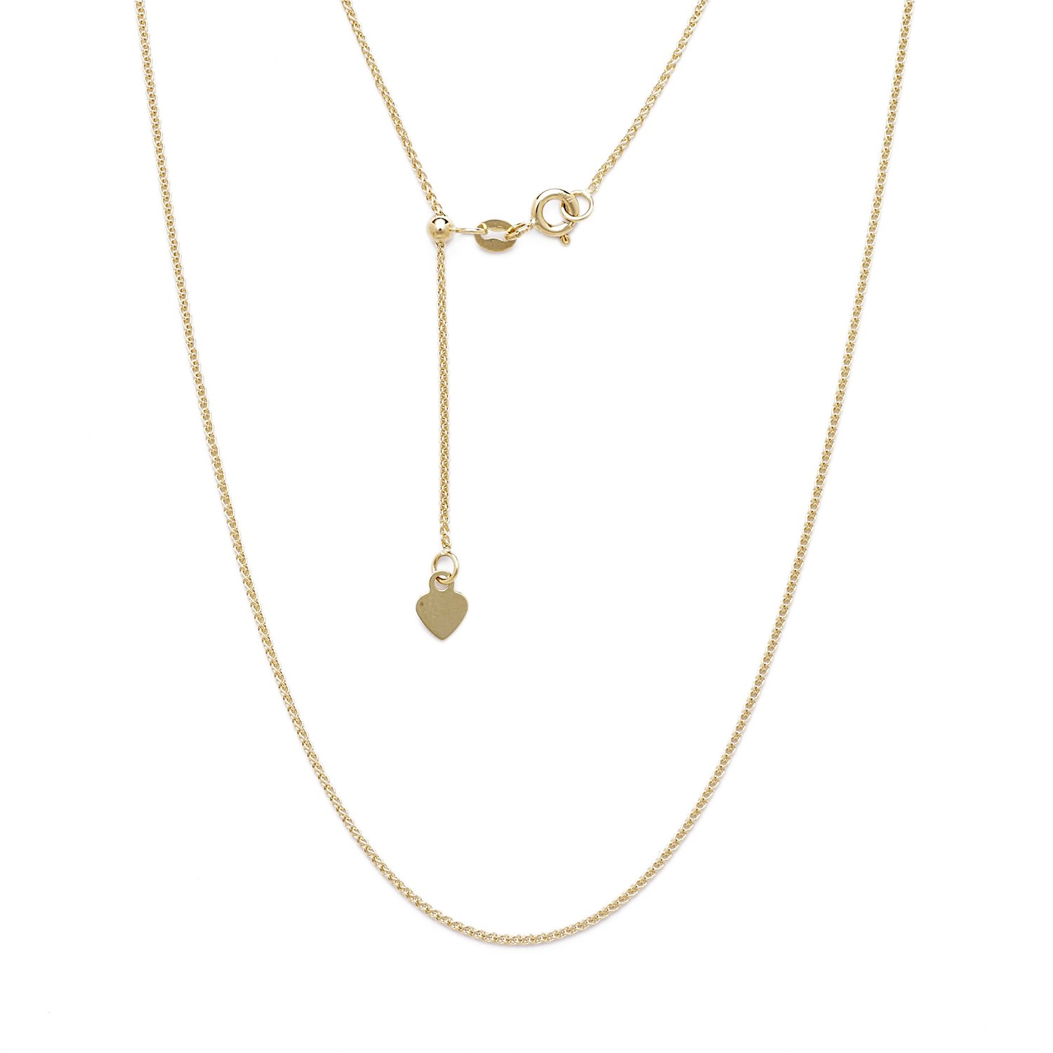 10k Yellow Gold Adjustable Solid Rope Chain Necklace w/ Spring Ring Clasp and Small Heart Charm 1.5mm 24''