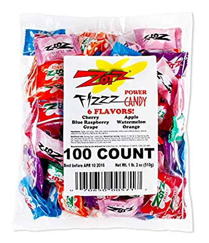 Zotz Fizzy Candy Bag, Assorted Flavors, 100 Count Bag (Zotz Bombs Candy)