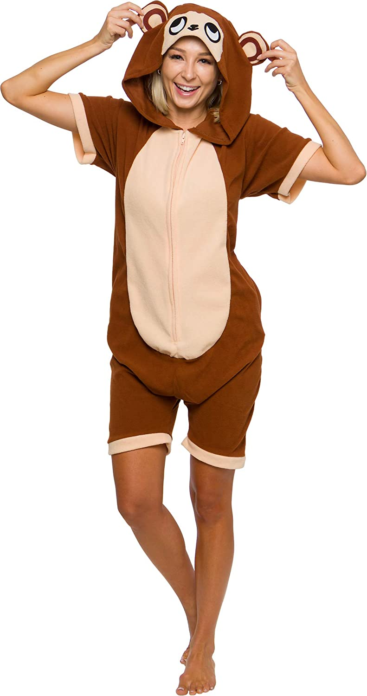 Adult One Piece Summer Costume Romper Monkey Short Sleeve Animal Pajamas