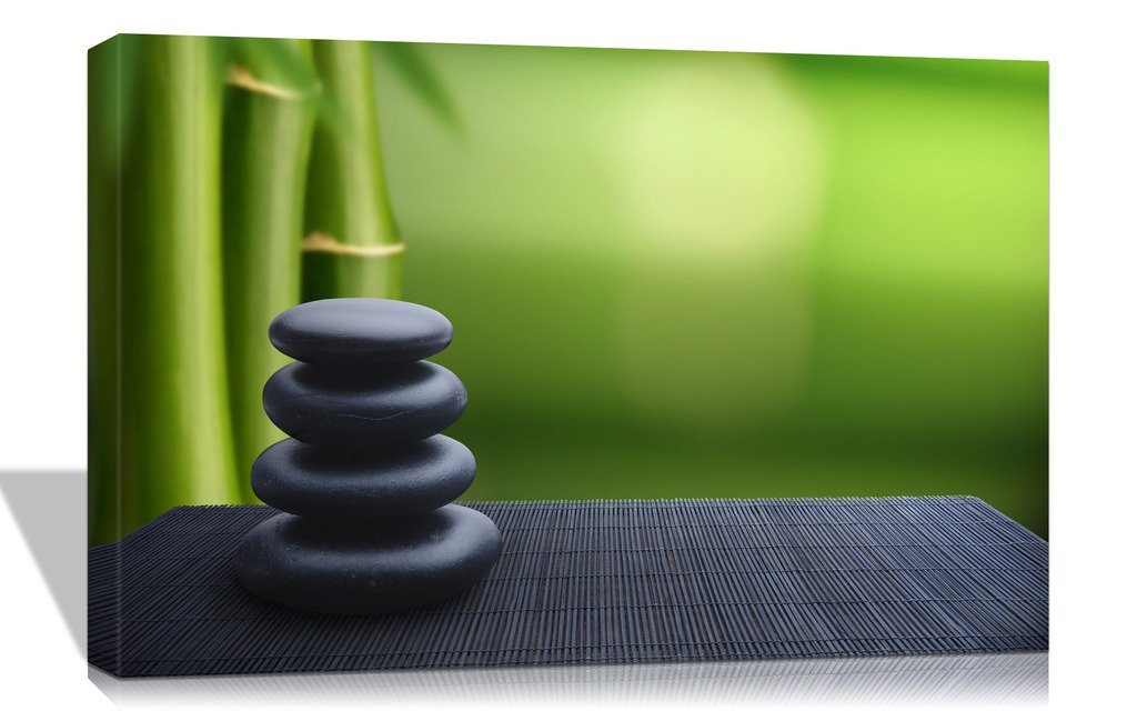 Purple Verbena Art 12''x16'' Stretched and Framed Modern Green Bamboo and Black Stone Spa Design Pictures Photo Prints on Canvas Paintings, HD High Giclle Zen Walls Artwork for Home Decor