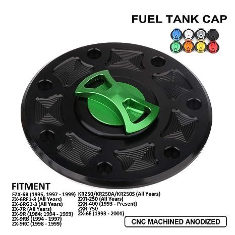 AnXin Motorcycle Gas Fuel Tank Cover Twist off CNC Aluminum Billet Keyless Cap For Kawasaki ZX1100 ZZR1100 ZR400 EX400 EX250 EX500 Ninja 250R 500 500R ...