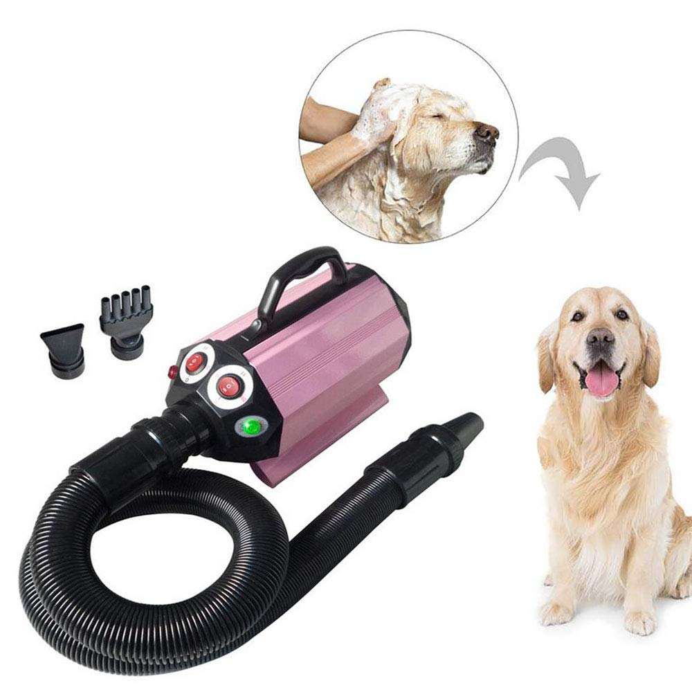 FXQIN Professional Dog Grooming Dryer, Pet Blower With Built-in Heater, 3 Nozzles & Super Quiet & Adjustable Speed, 1600W
