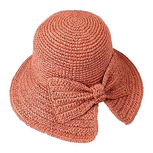 Spring and Summer Women Handmade Foldable Rear Split Strap Fisherman Straw Hat Orange