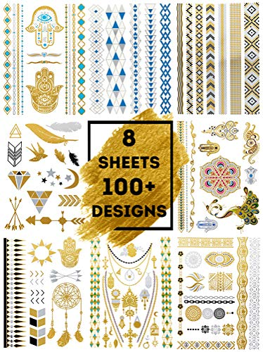 - LIMITLESS Metallic Temporary Tattoos - 8 Sheets of 100+ Tattoo Pieces For Women, Teens and Girls - Gold, Silver, Blue and Black Metallic/Glittery Waterproof Colors!