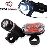 YITAMOTOR Bicycle Bike Light - Cycle Torch Bicycle Light headlight taillight -Compatible with Mountain, Road ,Kids & City Bicycles, Increase Safety & Visibility 6 Modes COB 1 LED