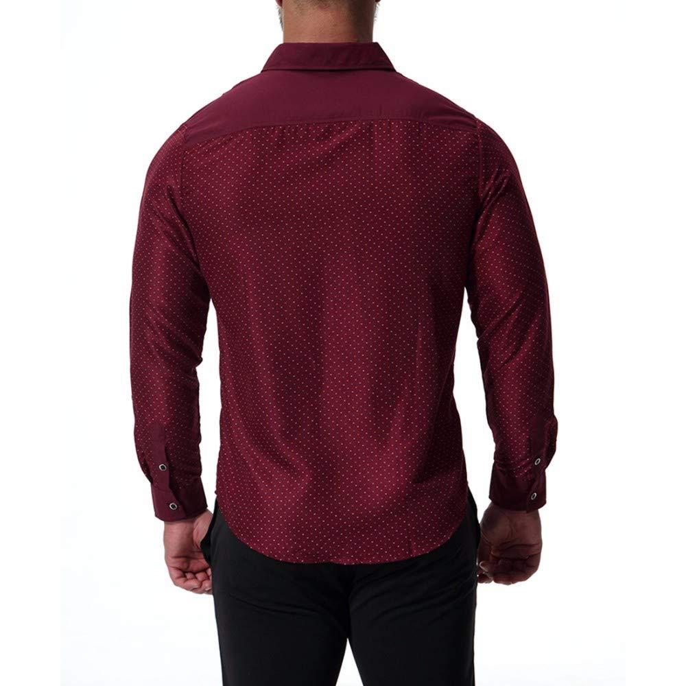 XXSZKAA-Shirts Long Sleeve Shirt Men//Fashion Big Size Polka Dot Spring Button Shirt//Breathable