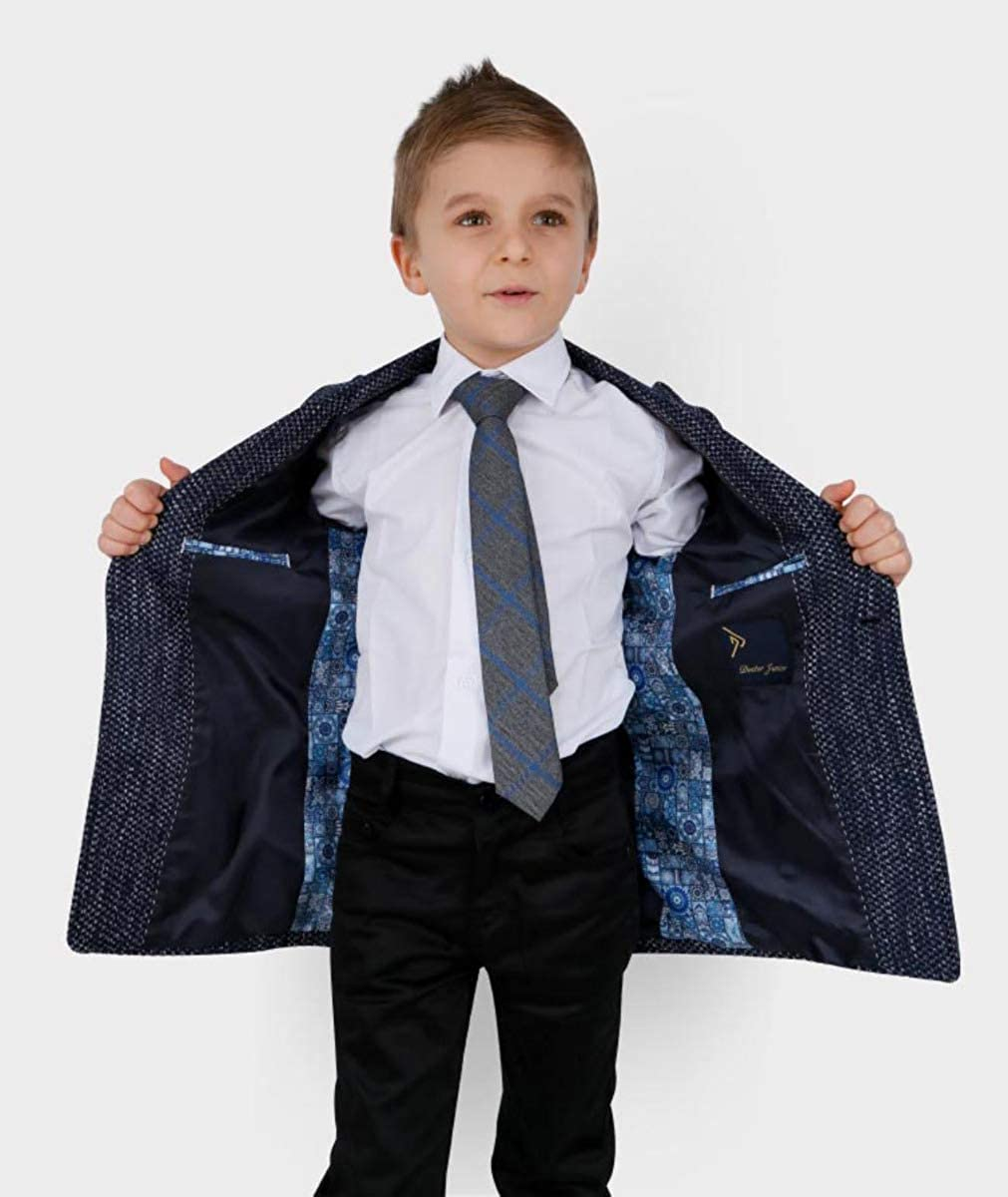 SIRRI Boys Tailored Fit Flecked Donegal Tweed Formal Dinner Overcoat Jackets