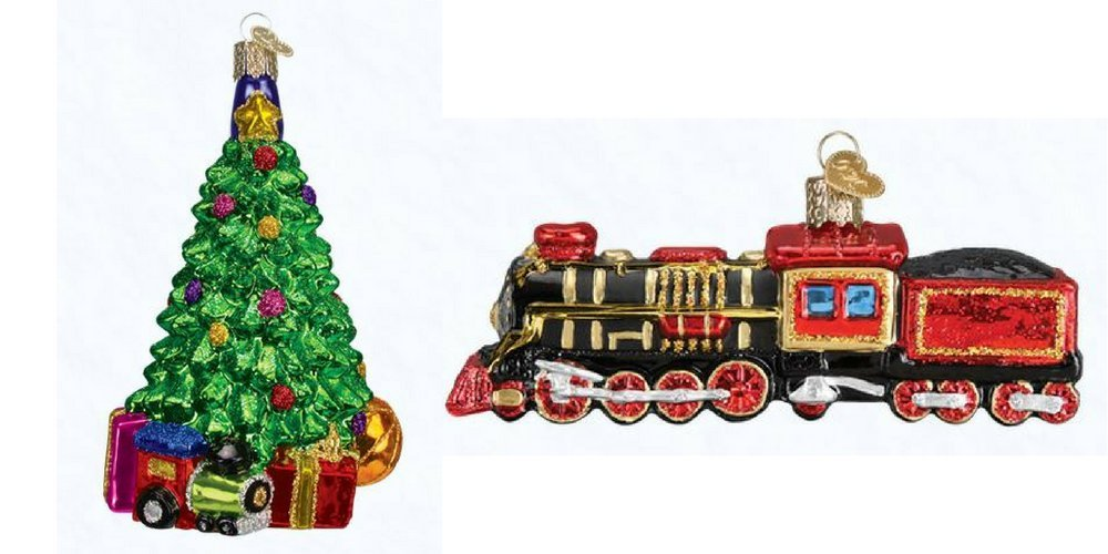 Old World Christmas Train and Christmas Morning Tree set of glass blown ornaments by