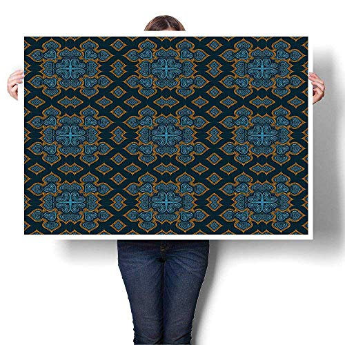 """SCOCICI1588 Panels Wall Art Waves Painting on Canvas Painted Ornamental Kaleidoscope moroccanislamic Wallpaper Oils,36"""" W x 20"""" L Paintings for Home Decorations(Frameless)"""