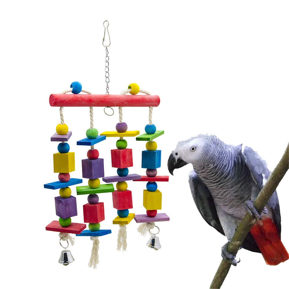 Pet Online Wooden Stand Parred bite Toy Birdcage Accessories