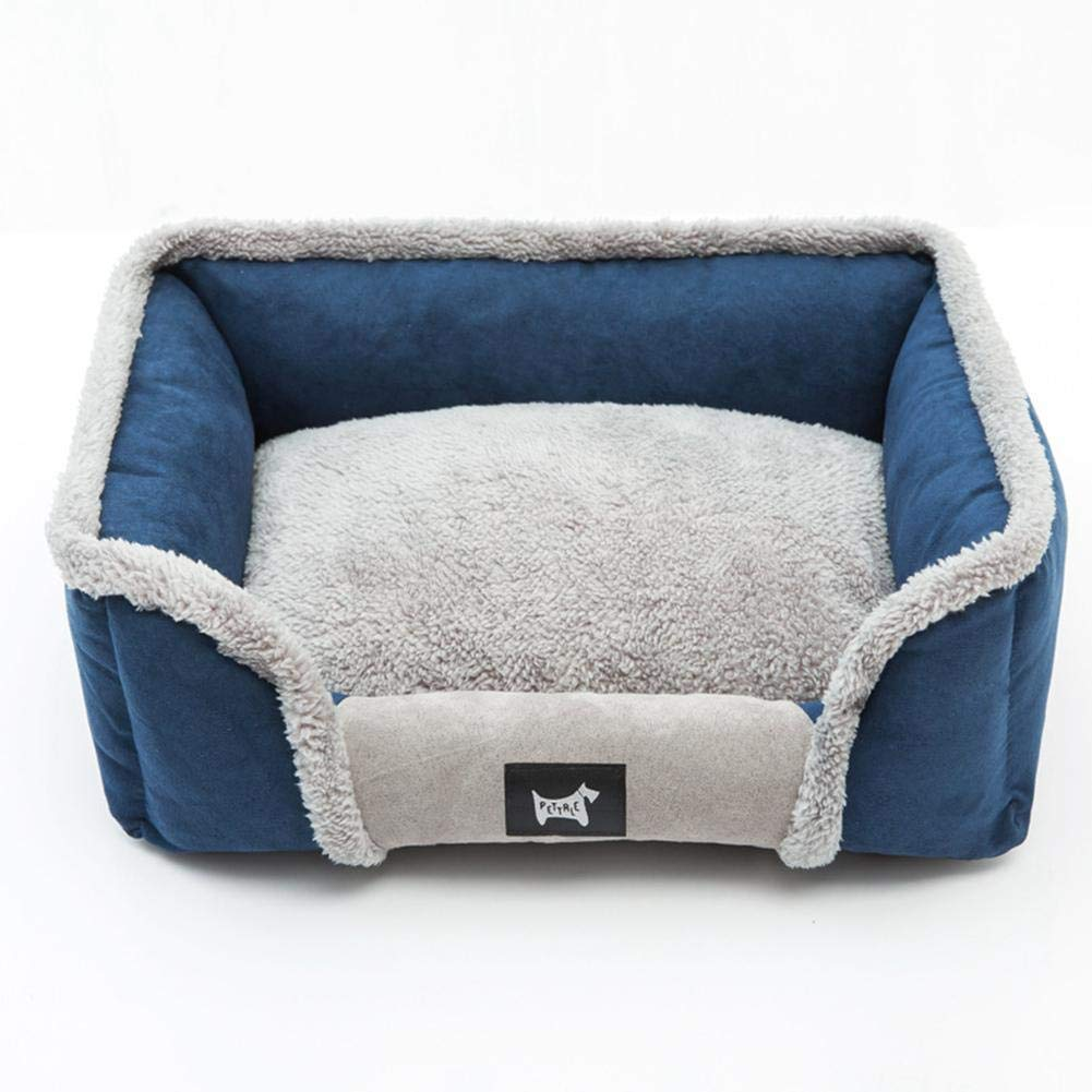 Deep bluee L Deep bluee L PAWACA New Rectangle Dog Bed, Moisture Proof Super Soft Pet Bed Lounge Sofa Cats Bed with Plush Edge for Relaxing The Pet Neck Caused by Fatigue and Discomfort Removable Cover Washable