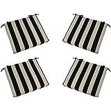 Set Of 4   Indoor / Outdoor Black And White Stripe 17u201d X 17u201d