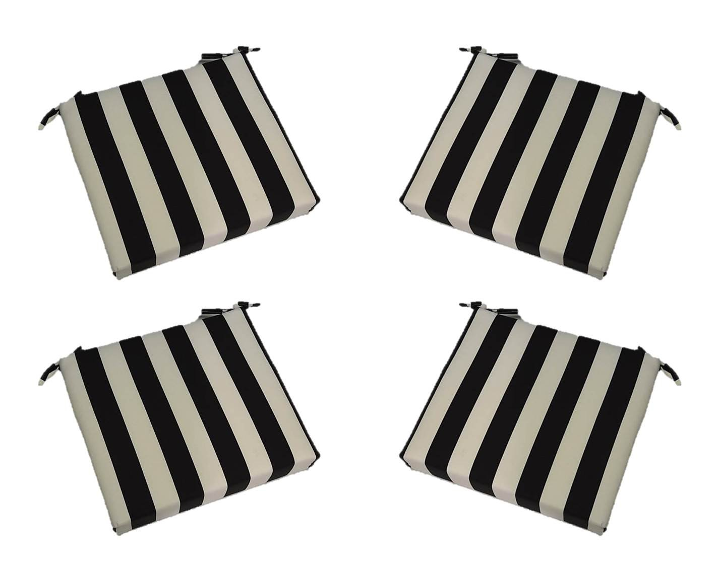 Set of 4 – Indoor Outdoor Black and White Stripe 17 X 17 Square Universal 3 Thick Foam Seat Cushions with Ties for Dining Patio Chairs