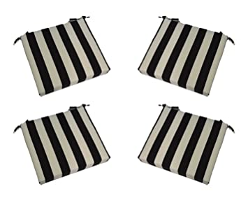 Set Of 4   Indoor / Outdoor Black And White Stripe 17u201d X 17u201d