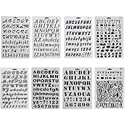 iPlanner 8PCS Letters Number Alphabet Template, Plastic Bullet Journal Stencil for DIY Drawing Painting Craft Projeccts