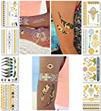 Metallic Temporary Tattoos for Women Teens Girls - 8 Sheets Gold Silver Temporary Tattoos Glitter Shimmer Designs Jewelry Tattoos - 100+ Color Flash Fake Waterproof Tattoo Stickers (Mustique)