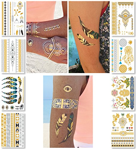Bird Costume Makeup (Metallic Temporary Tattoos for Women Teens Girls - 8 Sheets Gold Silver Temporary Tattoos Glitter Shimmer Designs Jewelry Tattoos - 100+ Color Flash Fake Waterproof Tattoo Stickers (Mustique))