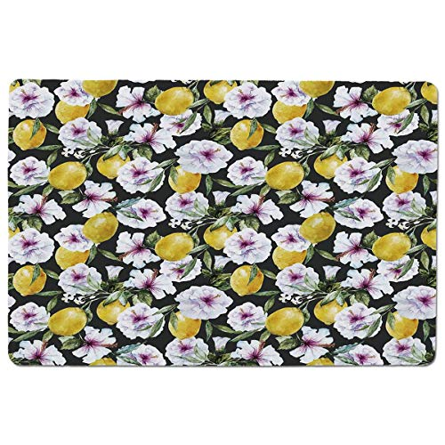 Essence Slip - SCOCICI Premium-Textured Mouse Mat Pad Tropical Hibiscus Blossoms Petals with Lemons Nature Harvest Spring Essence Imag,Non-Slip Rubber Base Mousepad,for Laptop,Computer,PC,Keyboard (23.6x15.7 inch)