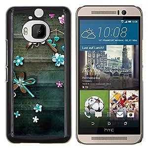- teal lines floral rustic wood - - Modelo de la piel protectora de la cubierta del caso FOR HTC One M9+ / M9 PLUS RetroCandy