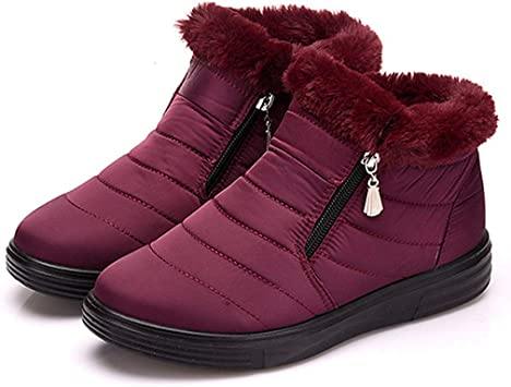 Fay Waters Womens Snow Boots Plush Winter Ankle Booties Waterproof Elastic Band Warm Fur Lined Sneaker