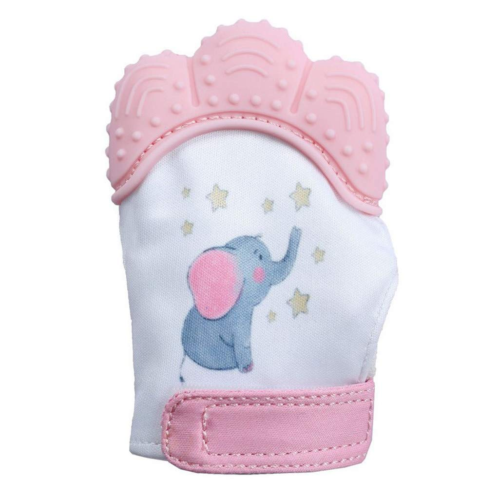 Lywey Elephant Baby Silicone Mitts Teething Mitten Molars Glove Wrapper Pink