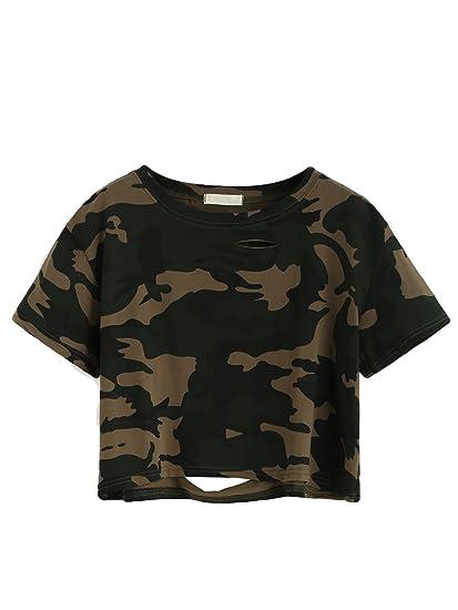 SweatyRocks Women s Tshirt Camo Print Distressed Crop T-shirt Summer Tops  ... 81556cc468b9