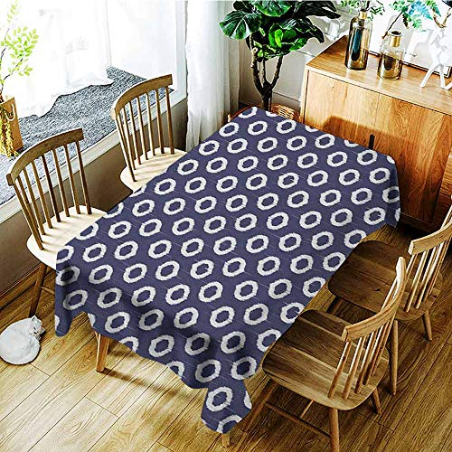 - XXANS Waterproof Table Cover,Indigo,Grunge Abstact Geometrical Design with Sketchy Round Rectangulars Image,Table Cover for Dining,W54x72L Dark Blue and White