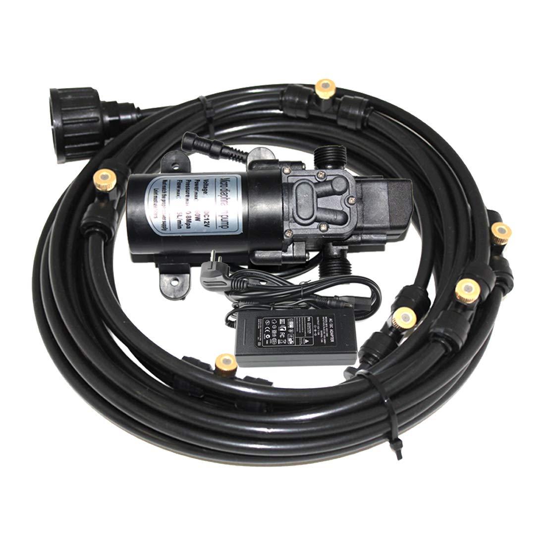 Redaiyuling 12V 60W 5L/min High Pressure Water Self Priming Micro Sprayer Diaphragm Misting System Pump, with 20feet Length 12V DC Mist System Kit, for RV Camper Marine Boat Lawn by Redaiyuling