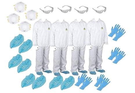MP-100 ( XL)(Four) White Disposable Microporous Paint Coveralls Suits + 4  N-95 Masks + 4 Safety Glasses + 8 Gloves size L + 8 Shoe Covers size XL