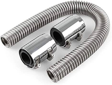 """24"""" Car Stainless Steel Upper//Lower Coolant Water Radiator Hose Kit With 2 Caps"""